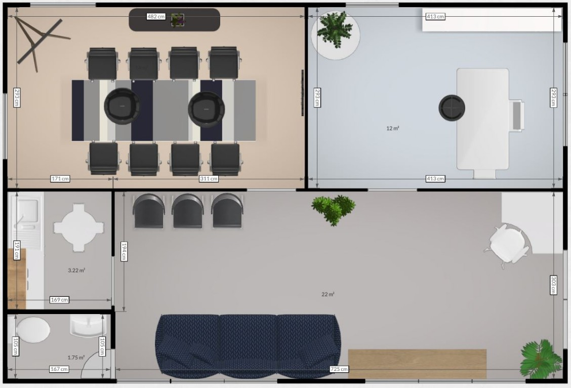 Plan suggestion for a 9m x 6m Office-Meeting room